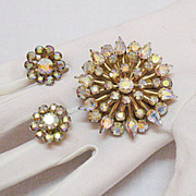 Aurora Borealis Vintage Rhinestone Brooch  Earrings Set