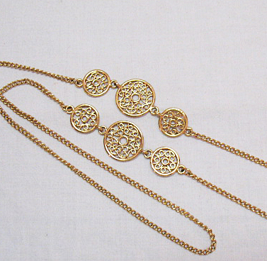 50% Off Vintage 34 Inch Long Golden Filigree Necklace