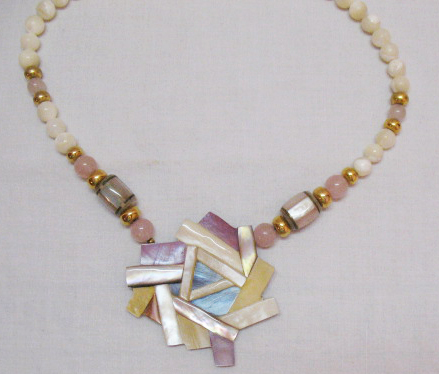 Vintage Mother of Pearl Abstract Pendant Lavaliere Necklace