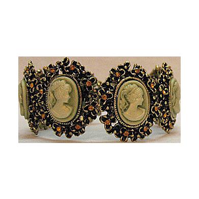 Stunning Vintage Costume Jewelry Cameo Rhinestone Bracelet