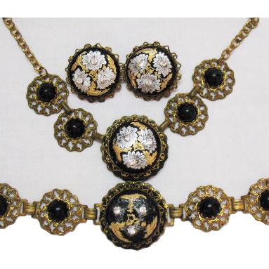 Vintage Brass Onyx Rhinestone Enameled Parure Necklace Bracelet Earrings