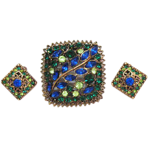 Vintage Unsigned Florenza Rhinestone Brooch Earrings Set