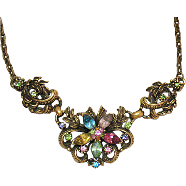Rare Vintage Early Rhinestone Floral Coro Necklace