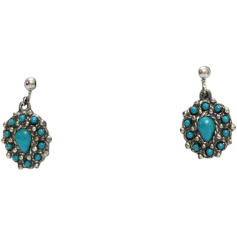 Rare Signed Sancrest Vintage Faux Turquoise Dangle Earrings 1950s