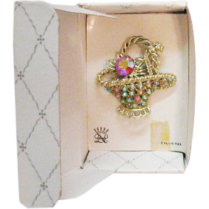 Vintage Signed Nemo Rhinestone Basket Brooch Original Card Box