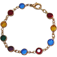 Vintage Collet Set Jeweled Colored Glass Bracelet French Style