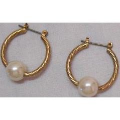 50% OFF Vintage Twisted Faux Pearl Hoop Pierced Earrings