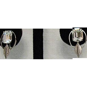 Vintage Sterling Silver Signed Van Dell Emerald Rhinestone Earrings