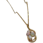 Stunning Vintage 585 Italian Hand Crafted Fiery Opal Necklace 14K Gold