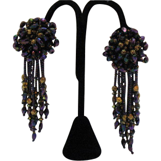 Jewel Tone Vintage Glass  4 Inch Should Duster Earrings