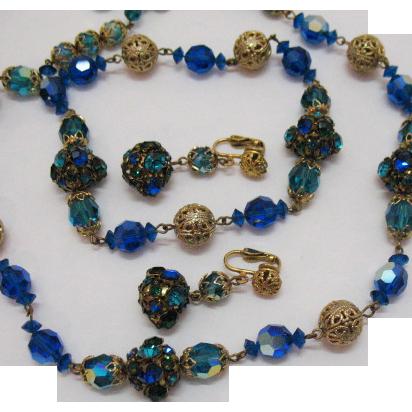 50% OFF Amazing Vintage Rhinestone Brass Orbs Necklace Earrings Set