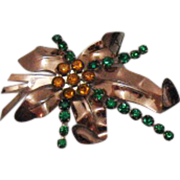Harry Iskin Vintage Sterling Rhinestone Brooch