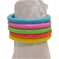Five Vintage Bright Lucite Stack Bangle Bracelets