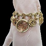 Unusual Vintage Faux Watch Parts Charm Bracelet