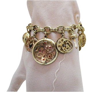 Unusual Vintage Faux Watch Parts Charm Bracelet