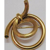 Very Rare 18K Gold Vintage Signed Krementz Umbrella Brooch