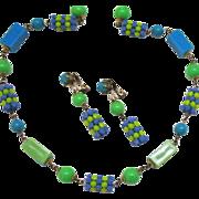 Vibrant Vintage Lucite Necklace Earrings Set