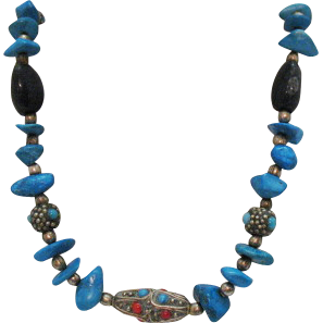 Vintage Tibetan Turquoise Onyx Coral Necklace