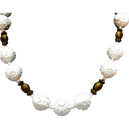 Vintage Molded Plastic Flower Brass Beaded Necklace