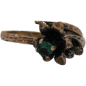 50% OFF Vintage 10K Gold Created Emerald Diamond Ring