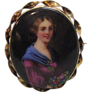 French Victorian Porcelain Miniature Painting Brooch #35