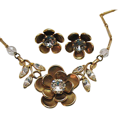 Vintage 1940s Rhinestone Floral Necklace Earrings Set