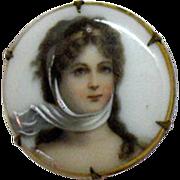 Antique Victorian Miniature Painted Portrait Brooch on Porcelain