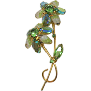 Juliana D&E Double Rhinestone & Givre Glass Brooch