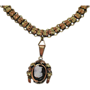 Antique Victorian Era Cameo Greek Soldier Pendant 8K Gold Book Chain Necklace