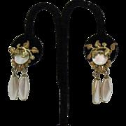 Signed Miriam Haskell Vintage Dangle Earrings