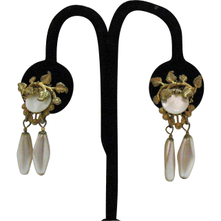 Signed Miriam Haskell Vintage Dangle Earrings