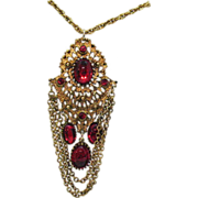 Vintage Red Glass Rhinestone Pendant Necklace~Captivating