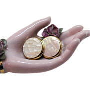 Awesome Vintage Hobe Earrings~Mosaic Mother of Pearl
