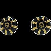 Vintage Signed St. John Enameled 24K Gold Plated Clip Earrings
