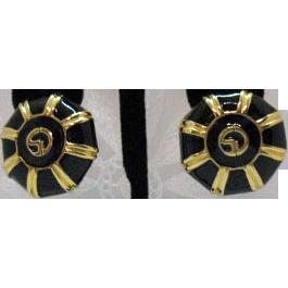 50% OFF Vintage Signed St. John Enameled 24K Gold Plated Clip Earrings
