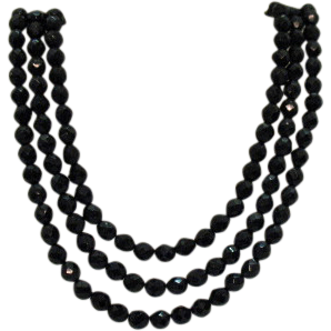 Fabulous Signed Hobe Vintage Three Strand Black Glass Beaded Necklace