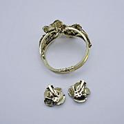 Big Bold Vintage Rose Clamper Bracelet & Earrings Set