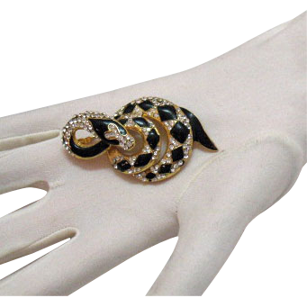Awesome Vintage Diamond Back Enameled Rhinestone Snake Brooch