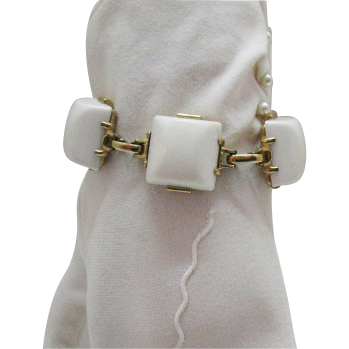 Perfect White Vintage Lucite Brick Bracelet