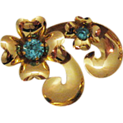 Vintage Signed Coro Heart & Rhinestone Brooch~1940s~Book