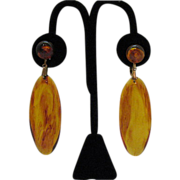 Vintage Tortoise Shell Colored Lucite Dangle Earrings