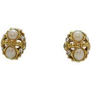 Bold Etruscan Opaque & Rhinestone Clip Earrings