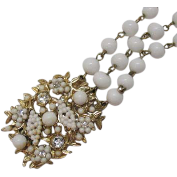50% OFF Vintage Three Strand Milk Glass Beaded Bracelet Rhinestones
