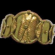 Vintage Hand Wrought Modernist Brass Cuff Bracelet