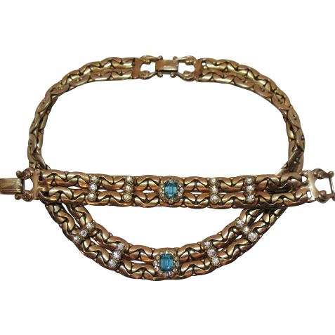 Vintage Bold Flat Chain Rhinestone Necklace Bracelet Set