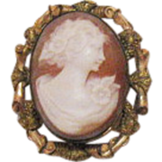 Signed P S Company Antique 12K Gold Filled Cameo Brooch/Pendant