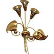 Vintage 40s Stylistic Tulip Brooch 4 Inches Long