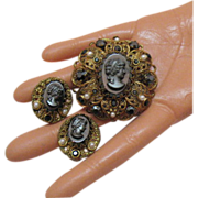 Gorgeous Hematite W Germany Cameo Brooch & Earrings Set