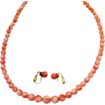 Vintage Genuine Angel Skin Coral Beaded Necklace Earrings Set