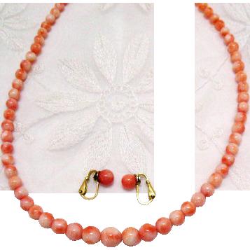 50% Off Vintage Genuine Angel Skin Coral Beaded Necklace Earrings Set